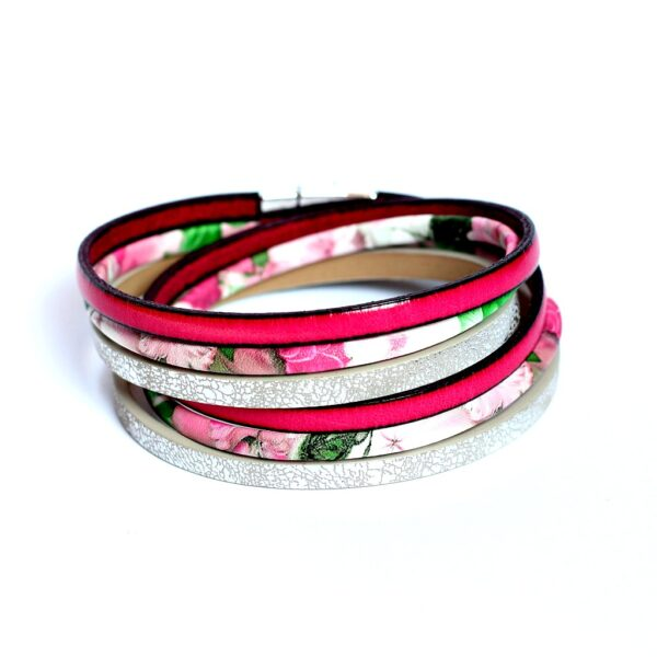Kociokwik Bracelet pink and silver and flowers