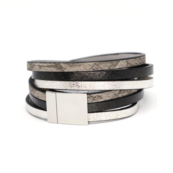 Bransoletka Fun czarno-srebrna z zapieciem magnetycznym