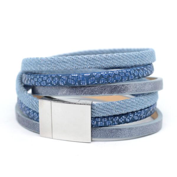 Bransoletka z rzemieni w kolorze blue jeans