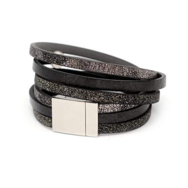 Bransoletka z rzemieni czarna z krysztalkami swarovskiego by Kociokwik