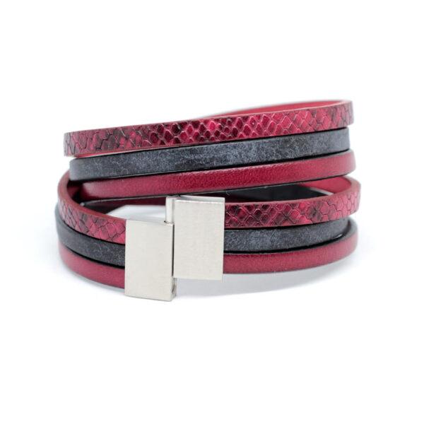 unisex-bransoletka-bordowo-czarna-z-zapieciem-magnetycznym