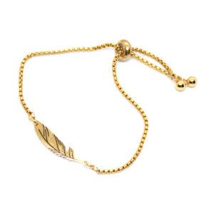 Kociokwik biżuteria bransoletka stal szlachetna z piórkiem