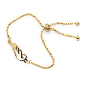 Kociokwik biżuteria bransoletka stal szlachetna ze skrzydłem