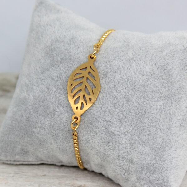 Kociokwik biżuteria bransoletka stal szlachetna z listkiem