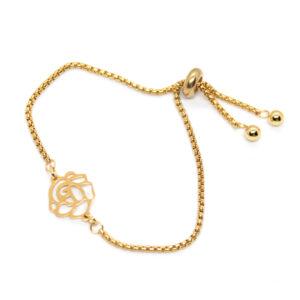 Kociokwik biżuteria bransoletka stal szlachetna z różą