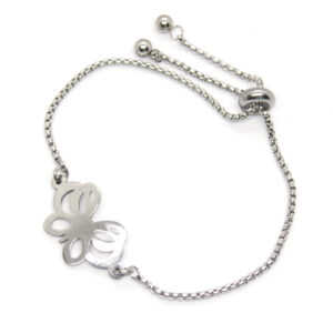 Kociokwik biżuteria bransoletka stal szlachetna z motylem