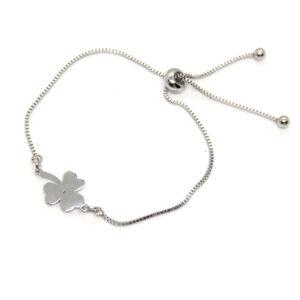 Kociokwik biżuteria bransoletka stal szlachetna z koniczynką