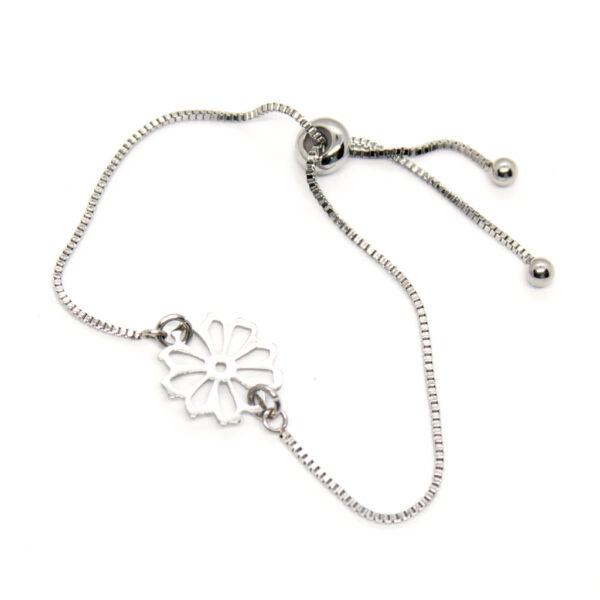 Kociokwik biżuteria bransoletka stal szlachetna z kwiatkiem