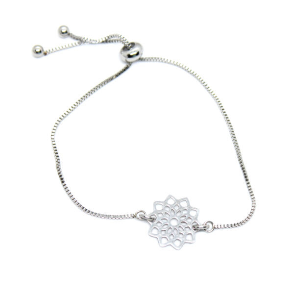 Kociokwik biżuteria bransoletka stal szlachetna z rozetą