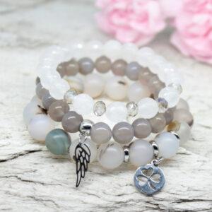 Kociokwik biżuteria zestaw bransoletek z kamieni naturalnych
