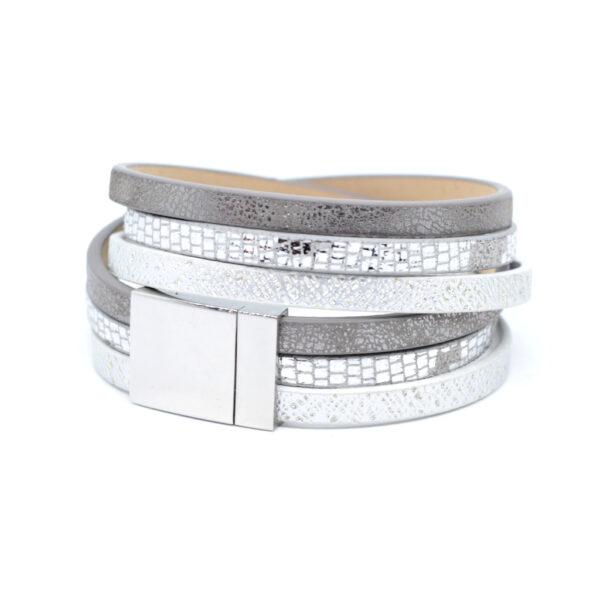 Bransoletka w srebrnych kolorach z zapieciem magnetycznym ze stali