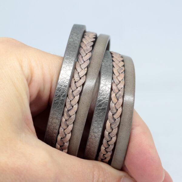 Bransoletka z rzemieni ze stalowym magnetycznym zapieciem kolor bez i szary