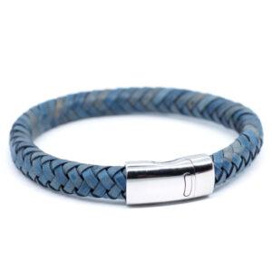 Męska bransoleta ze skóry w kolorze niebieskim i stalowym zapięciem