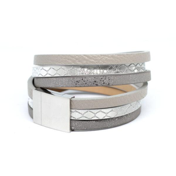 Bransoletka z rzemieni srebrno-szara z magnetycznym zapieciem