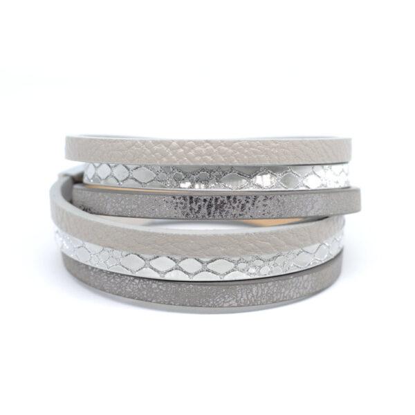 Bransoletka z rzemieni srebrno-szara z zapieciem magnetycznym