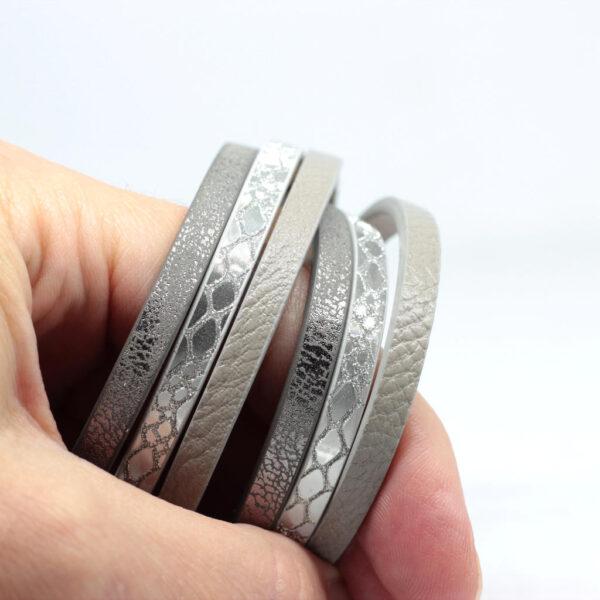 Bransoletka z rzemieni srebrno-szara ze stalowym magnetycznym zapieciem