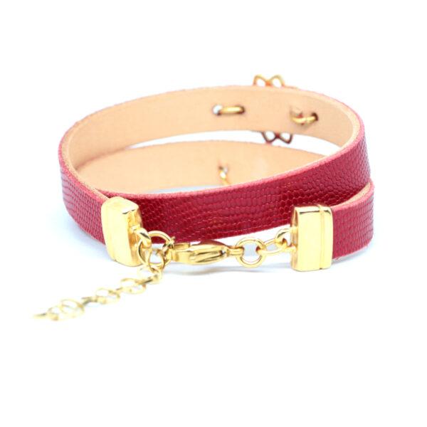 Bransoletka ze skóry naturalnej czerwonej z dodatkami w kolorze złota