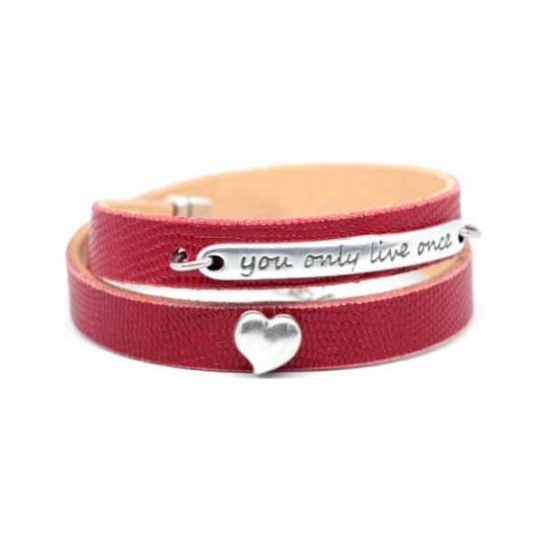 bransoletka skórzana czerwona z napisem i sercem