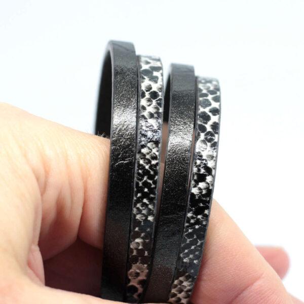bransoletka czarna unisex z rzemieni syntetycznych i stali