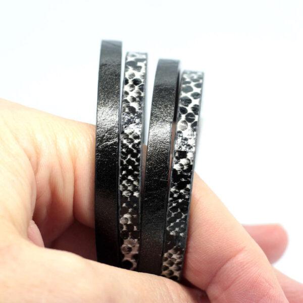 bransoletka czarna unisex z rzemieni syntetycznych i stalowego zapiecia