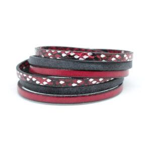 bransoletka-meska-czerwono-czarno-srebrna