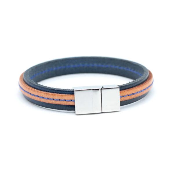 bransoletka-meska-skorzana-niebiesko-brazowa-magnetyczne-zapiecie