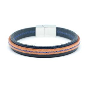 meska-skorzana-bransoleta-niebiesko-brazowa-magnetyczne-zapiecie