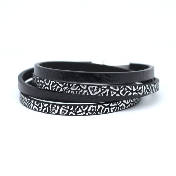 unisex-bransoletka czarno-srebrna-ze-stalowym-zapieciem