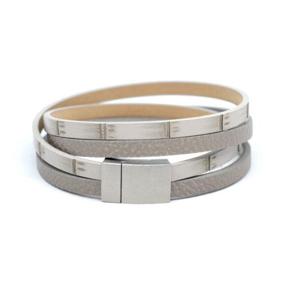 unisex-bransoletka-rzemienie-szary-bez-zapiecie-stalowe
