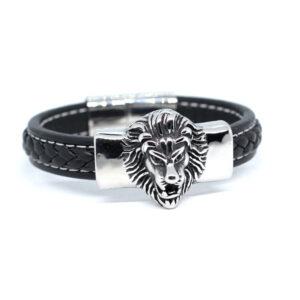Czarna bransoleta meska z lwem stal