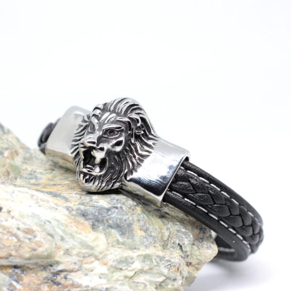 bransoleta meska skorzana z lwem