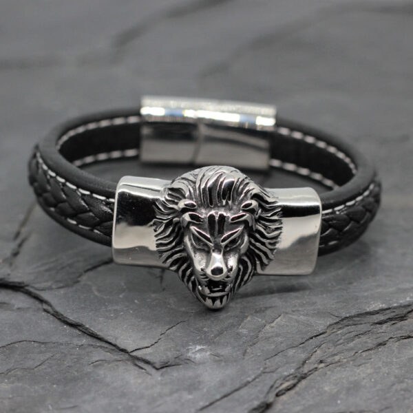 skorzana meska bransoleta z lwem i zapieciem magnetycznym