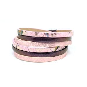 Bransoletka-damska-rozowo-fioletowa-z-rzemieni