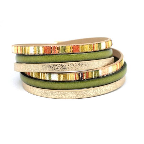 bransoletka zawijana w odcieniach zielonego oliwkowego, pomaranczu i zlotego bezu z antyalergicznym zapieciem
