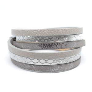 Damska bransoletka z rzemieni w kolorze srebrno-szarym z zapięciem magnetycznym